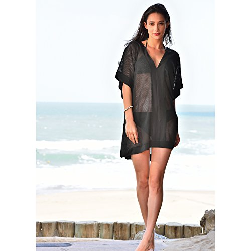 535ee4d292 MG Collection® Plus Size Black Sheer V-Neck Kimono Style Swimsuit Cover Up