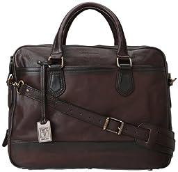 FRYE Men\'s James Tumbled Grain Work Zip Briefcase, Dark Brown, One Size