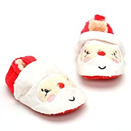 LIVEBOX Infant Baby Christmas Special Cotton Soft Sole Anti-Slip Prewalker Toddler Warm Shoes (2: 6~12 months, Santa Claus Red and White)