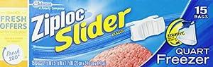 Ziploc Slider Bag Freezer, Quart, 15-Count (Pack of 3)