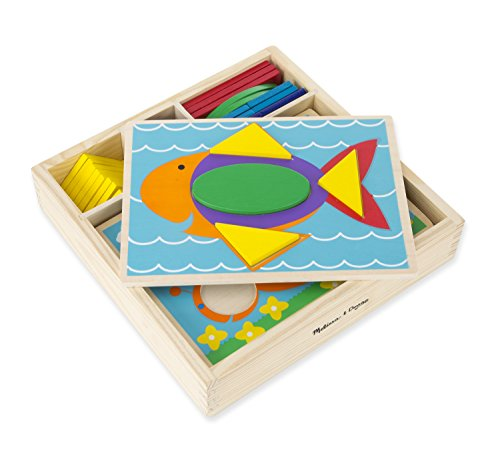Melissa & Doug Beginner Wooden Pattern Blocks Educational Toy With 5 Double-Sided Scenes and 30 Shapes