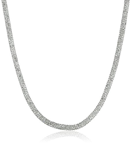 """Sterling Silver Italian Rhodium Plated Mesh And Cubic Zirconia Necklace, 16.5""""+1.25"""" Extender"""