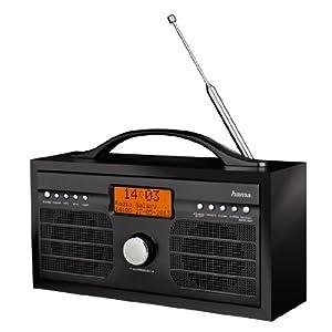 Hama DR1100 Digitalradio (DAB+/DAB/FM, Netzbetrieb oder Batteriebetrieb, Kopfhörerausgang, Weckfunktion) schwarz