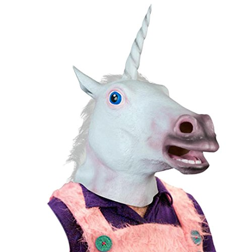 DDLBiz Magical Unicorn Mask Halloween Party Toys Mask Latex Animal Costume