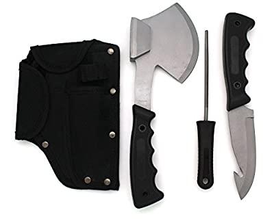 Snake Eye Tactical Heavy Duty 4PC Big Game Hunting Knife Set Camping Fishing Silver