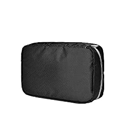 Ysiop Solid Nylon Travel Toiletry Bag Waterproof Cosmetic Pouch Portable Makeup Storage Bag Black