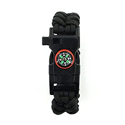 DEW Survival Kit Traveling Camping Hiking Paracord Multi Tool Bracelet with Compass Whistle Buckle Firestone and Scraper for Outdoor Self-rescue from DEW