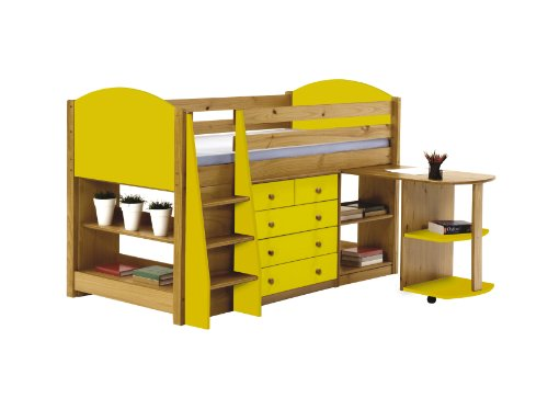 Mid Sleeper Cabin Bed 3ft Single Lime Yellow with Pull out Desk & Chest & Bookcase by Verona Design