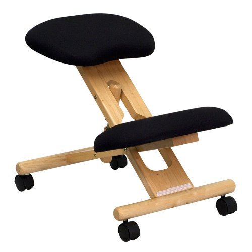Flash Furniture Mobile Wooden Ergonomic Kneeling Chair in Black Fabric