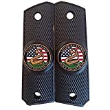 Garrison Grip 1911 Colt Full Size and Clones with United WE Stand Medallion Set in Ebony Black Polymer Grips (Color: Black, Tamaño: One Size)