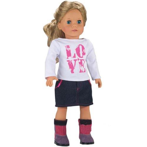 LOVE Shirt and Sequin Trim Denim Skirt, Fits 18