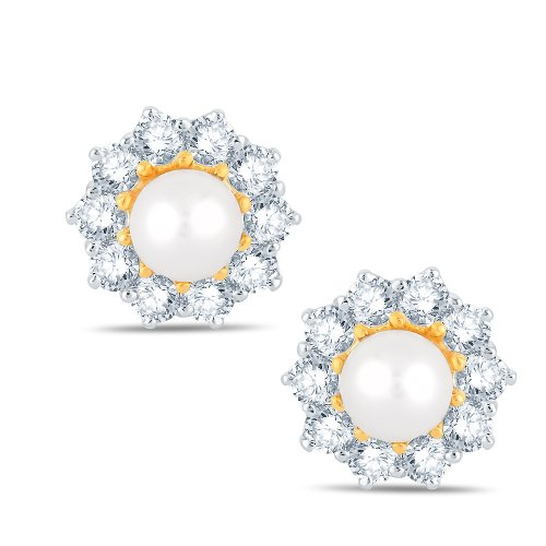 Jashn The Giroflee Stud Earring in Sterling Silver with Swarovski Diamond # JNESC049