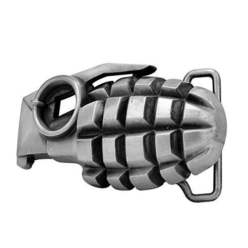 Buckle Rage Adult Mens 3D Grenade Weapon Novelty Punk Rock Belt Buckle Silver (Grenade Belt Buckle compare prices)