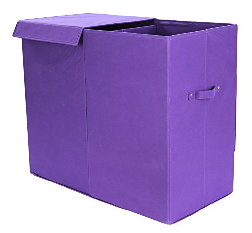 Modern Littles Color Pop Folding Double Laundry Basket with Handles- High-Strength Polymer Construction - Installed Divide for Separating Clothes - Folds for Easy Storage and Transportation - Purple
