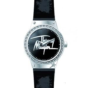Thierry Mugler - 4721401 - Montre Femme - Quartz Analogique - Cadran Argent - Bracelet Métal Noir