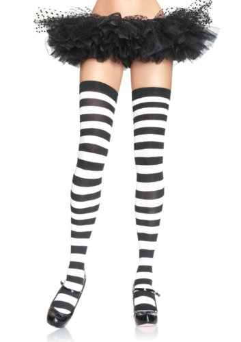 Opaque Thigh High Nylon Stocking With Wide Stripe
