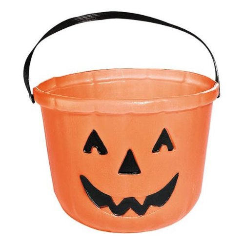 One Orange Plastic Pumpkin Jack O Lantern Design Trick Or Treat Bucket - 6