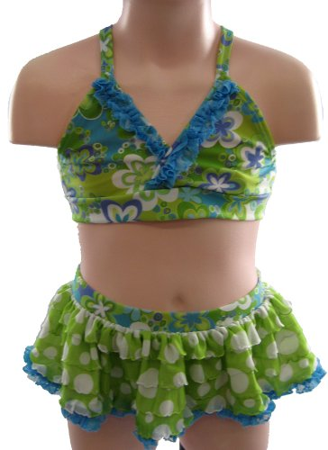 FRANKIE & DAISY 3T Gotta Wear Shades Turquoise Flower Bikini Swimsuit By Corky and Company