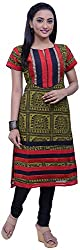 NavRachna Women Olive Tribal Printed Georgette Straight Kurti Embellished with Stitchlines and Zari Work with Contrast Yoke & Hem (NV04_96-OLIVE_38)