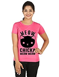 Fanideaz Silky Polyester Meow Chicka Meow T Shirt for Women_Pink_M