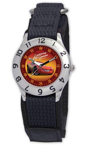 Disney Kids' D015S500 Cars Time Teacher Black Velcro Watch