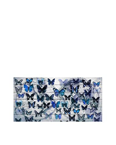 Marmont Hill Blue Butterfly Worlds White Pine Wood Wall Art