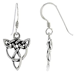 .925 Sterling Silver Celtic Trinity Knot Dangle Earrings