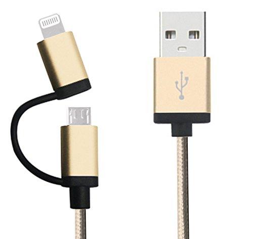 LOE(ロエ) Apple認証 (MFI. Made for iPhone取得) 高耐久ナイロン 2in1 ライトニング USBケーブル Lightning & microUSB ハイスピード チャージ  for iPhone 6, iPad, タブレット, モバイルバッテリー (1m ゴールド)