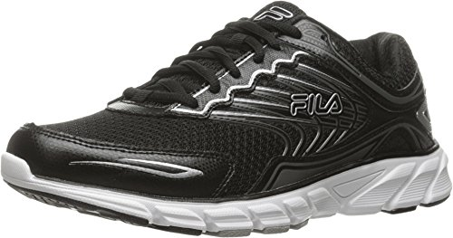 Fila Men's Memory Maranello 4 Running Shoe, Black/Black/Metallic Silver, 12 M US