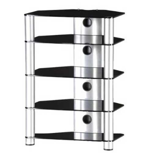 Sonorous Roxy RX2150 Black Glass and Silver Aluminium Hi-Fi Separates Rack