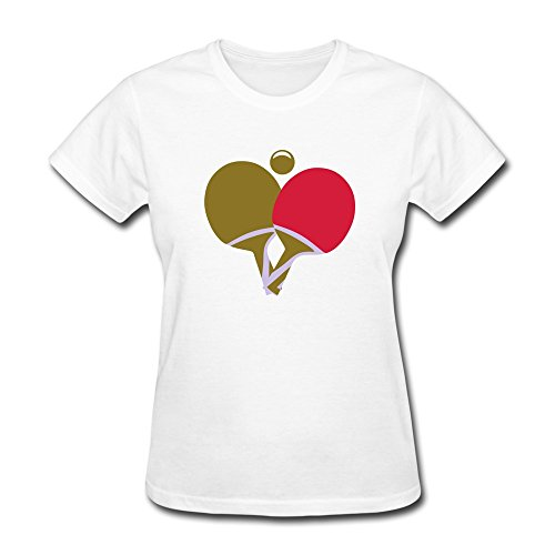 100% Cotton Offensive Table Tennis Ping Pong T Shirt For Woman - Round Neck front-676848