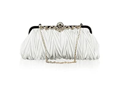 Bundle Monster Womens Vintage Satin Cocktail Party Handbag (Chain-White)
