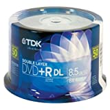 TDK Branded Shiny Silver 8X DVD+R Media Double Layer DL 8.5GB 50 Pack in Cake Box (61611)