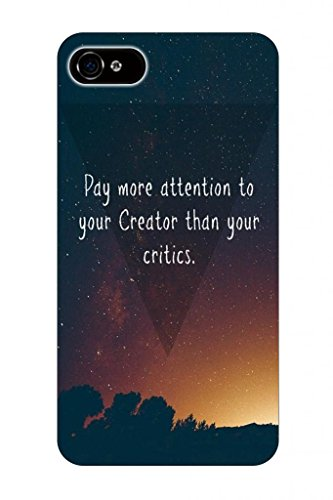 Pay More Attention To Your Creator Than Your Critics Bible Quote Christian Verses Pattern Theme Printing Protective Cover Protetor Sleeve Case For Apple Iphone 5 5S 5G front-840678