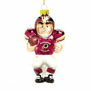 SC Sports Washington Redskins Glass Football Player Ornaments- Set of 2 Set of 2
