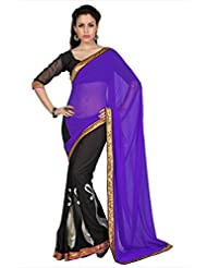 Designersareez Women Purple & Black Faux Georgette Saree With Unstitched Blouse (1696)