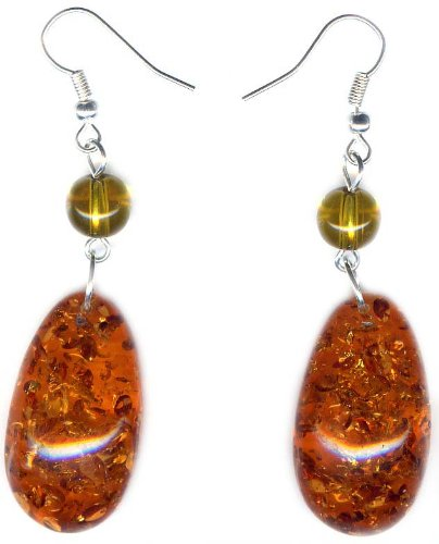 Cabochon Amber Earrings and 925 sterling silver hooks
