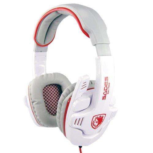 Sades Sa-708 Stereo Headphone Computer Gaming Headset Headphone Earset Earphone With Microphone White / Red