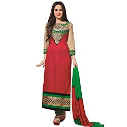 Khwaish Women's Embroidered Semi Stitched Suit (KHWAISH62_Red Green_Free Size)