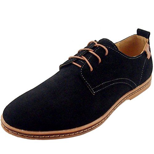 Kiwii Mens Fashion Lace-up Rubber Sole Flats Boards Round Toe Walking Business Oxfords Shoes(9 D(M) US, Black1)
