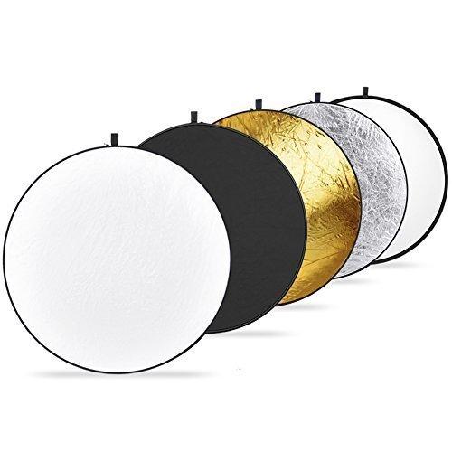 5 in 1 riflettori pieghevoli Fotografico -110cm Argento, Oro, Nero, Bianco e traslucido, pieghevole, con custodia