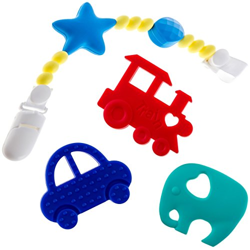 Teething Toys PLUS Pacifier Clip/Teether Holder - BPA-Free & FDA Approved Teether - Soothing Pain Relief for Baby