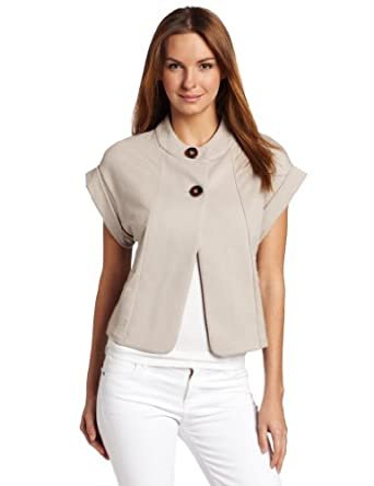 Lilla P Women's French Terry Rolled Sleeve Jacket Shirt, Biscotti, Small