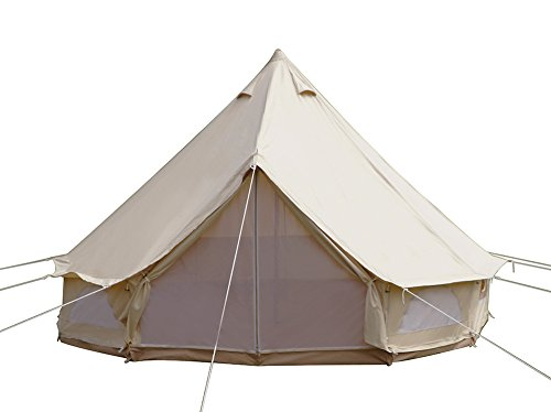 Dream House Diameter 4m Outdoor Luxury Cotton Canvas Family Camping Bell Tents with Stove Hole (Tent Stove Jack compare prices)