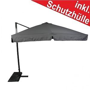 Sonnenschirm Ampelschirm 3x3m grau PESchutzhülle drehbarer Fuß  Kundenbewertung und Beschreibung