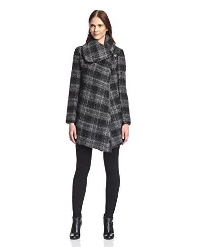 Betsey Johnson Women's Brushed Plaid Wool Coat