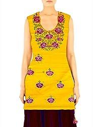 Arham Printed Cotton Yellow Kurti Material