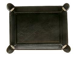 Tony Perotti Unisex Italian Bull Leather [Personalized Initials Embossing] Executive Organizer Travel Tray in Black
