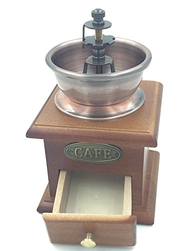 Dr.Luck Manual Coffee Bean Hand Grinder Spice Herbs Vintage Style Wooden Retro Burr Mill,Strong And Durable Hand Grinding Machine, Coffee Beans Grinding Machine, Classic Grain Mill, Manual Grinding Bean Machine