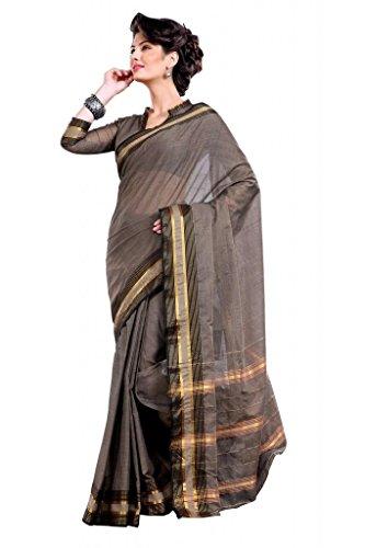 ISHIN Cotton Brown sarees Aakansha